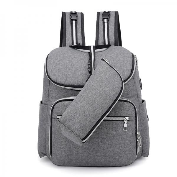 "RUCSAC SPACER Mammy bag , nylon,  1 compartiment, 2 buzunare frontale, 35x30x16cm, silver, ""SPB-Pumpkin"" [2]"