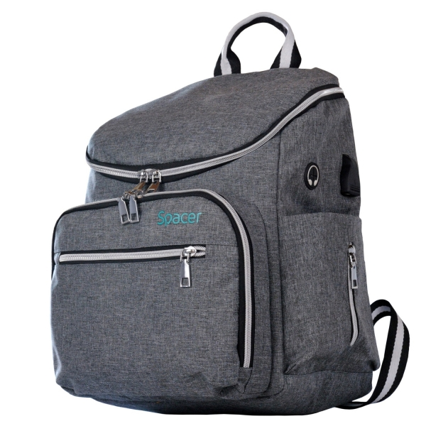 "RUCSAC SPACER Mammy bag , nylon,  1 compartiment, 2 buzunare frontale, 35x30x16cm, silver, ""SPB-Pumpkin"" [1]"