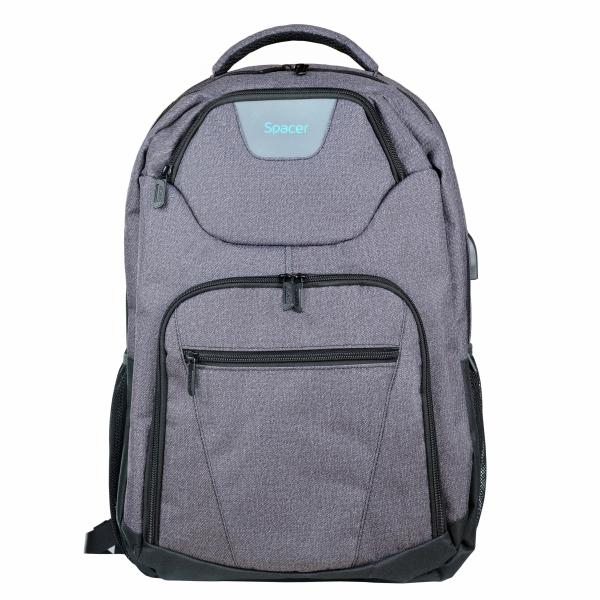"RUCSAC SPACER notebook 15.6"", polyester, USB pt. smartphone, 3.5"" jack pt. casti, light grey, ""SPB-SMART"" [0]"