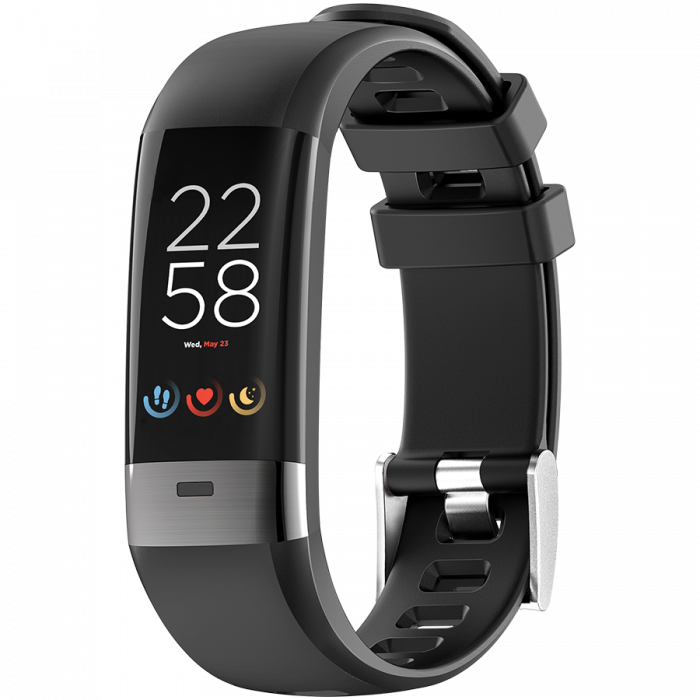 Smart Band, colorful 0.96inch TFT, ECG+PPG function,  IP67 waterproof, multi-sport mode, compatibility with iOS and android, battery 105mAh, Black, host: 55*19.5*12mm, strap: 18wide*240mm, 24g [1]