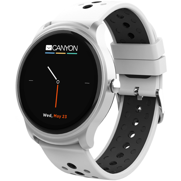 Smart watch, 1.3inches IPS full touch screen, Silver Alloy+plastic body,IP68 waterproof, multi-sport mode with swimming mode, compatibility with iOS and android,white-black with extra black belt, Host 1