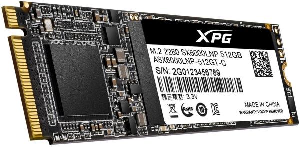 """SSD ADATA M.2 PCIe 512GB, Gen3 x4, XPG  SX6000 Lite 3D TLC NAND, R/W up to 1800/1200MB """"ASX6000LNP-512GT-C"""" 2"""