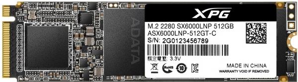 """SSD ADATA M.2 PCIe 512GB, Gen3 x4, XPG  SX6000 Lite 3D TLC NAND, R/W up to 1800/1200MB """"ASX6000LNP-512GT-C"""" 1"""