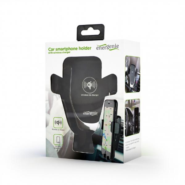 "SUPORT auto GEMBIRD pt. SmartPhone, 2 in 1, fixare in grilaj bord, incarcare wireless Qi 10W, sistem auto-lock, rotire 360 grade, black, ""EG-TA-CHAV-QI10-01"" 4"
