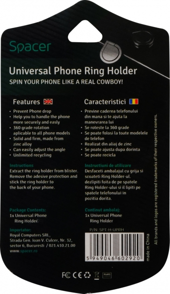 Suport Universal SPACER pentru Telefon, Ring Holder, Retail box, SPT-RH-UPRH 4