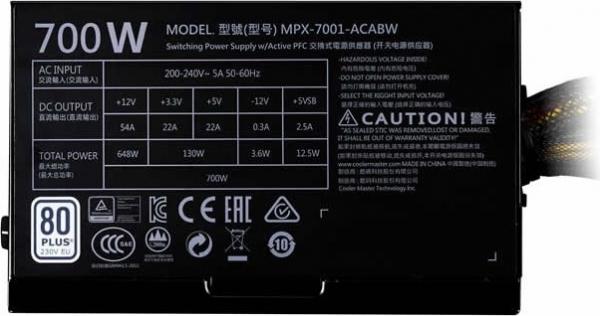 "SURSA COOLER MASTER  MasterWatt Lite, 700W (real), silent HDB fan 120mm, 85% eficienta, 4x PCI-E (6+2), 6x S-ATA ""MPX-7001-ACABW-EU"" 1"
