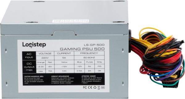 "SURSA LogiStep 500, 300W pt. 500W desktop PC, Gaming PSU 500, 120mm fan, 1x PCI-E (6), 4x S-ATA ""LS-GP-450"" 3"
