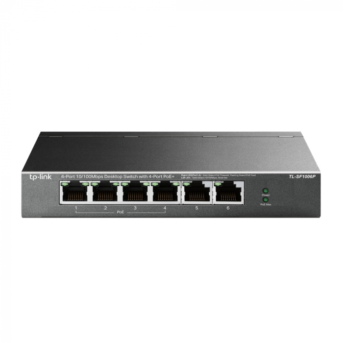 "SWITCH PoE TP-LINK  6 porturi 10/100Mbps (4 PoE+), IEEE 802.3af/at, carcasa metalica ""TL-SF1006P"" (include timbru verde 1.5 lei) 0"