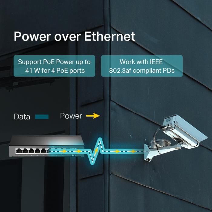 "SWITCH PoE TP-LINK  8 porturi 10/100Mbps (4 PoE), IEEE 802.3af, carcasa metalica ""TL-SF1008LP"" (include timbru verde 1.5 lei) 2"