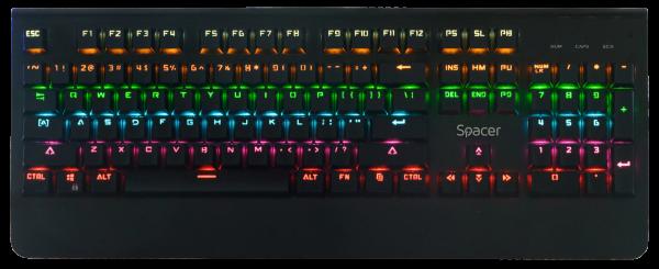 "TASTATURA MECANICA SPACER USB, switch-uri mecanice albastre, 50 mil. apasari, 104 taste, anti-ghosting 26 taste, anti-spill, black, ""SPKB-MK-01"" (include timbru verde 0.5 lei) 0"