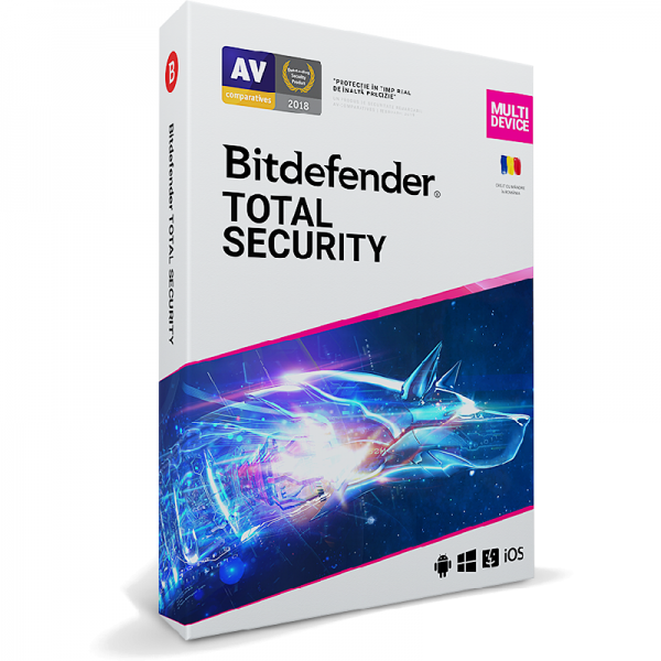 Antivirus Bitdefender Total Security Multi-Device 2020, 3 Dispozitive, 1 An, Licenta noua, Retail Box - PC, Laptop, Mac, Tableta, Smartphone 0