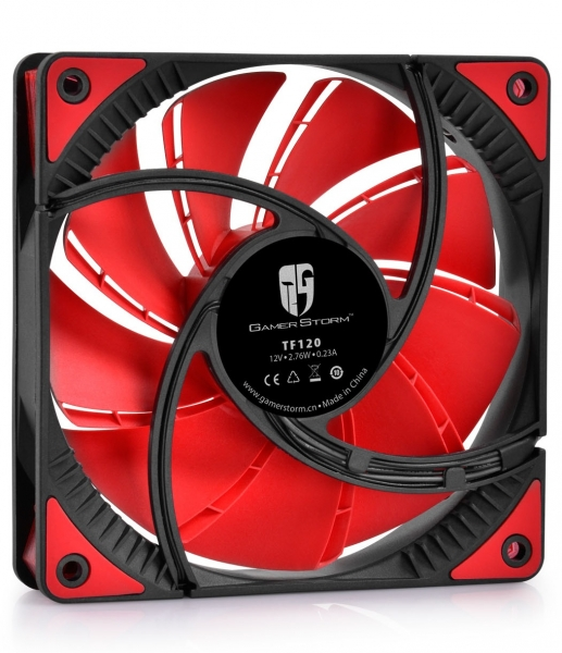 "VENTILATOR DEEPCOOL PC 120x120x25 mm, red LED, PWM, Fluid Dynamic Bearing, MTBF 100.000 ore, pale dual-layer detasabile, ""TF120 RED"" 1"