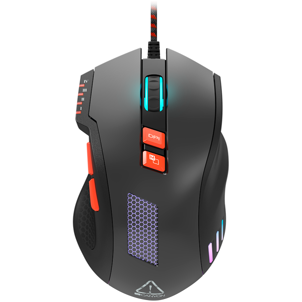 Wired Gaming Mouse with 8 programmable buttons, sunplus optical 6651 sensor, 4 levels of DPI default and can be up to 6400, 10 million times key life, 1.65m Braided USB cable, Matt UV coating surface  3