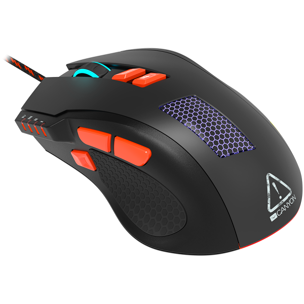 Wired Gaming Mouse with 8 programmable buttons, sunplus optical 6651 sensor, 4 levels of DPI default and can be up to 6400, 10 million times key life, 1.65m Braided USB cable, Matt UV coating surface  0