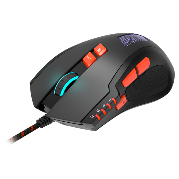Wired Gaming Mouse with 8 programmable buttons, sunplus optical 6651 sensor, 4 levels of DPI default and can be up to 6400, 10 million times key life, 1.65m Braided USB cable, Matt UV coating surface  1