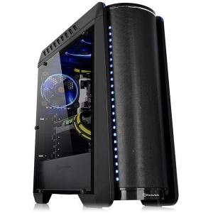 """Thermaltake Versa C24 RGB, SPCC Steel ATX Mid Tower, fara sursa (tip ATX, montata jos), interior vopsit negru, design premium cu panoul lateral din sticla securizata cu grosimea de 4mm, 2x2.5"""" (int), 0"""