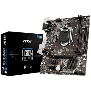 MSI Main Board Desktop H310 (S1151, DDR4, USB3.1, USB2.0, SATA III, HDMI, DVI-D, VGA - Requires Processor Graphics, 8-Channel(7.1) HD Audio with Audio Boost, Realtek 8111H Gigabit LAN) mATX Retail0