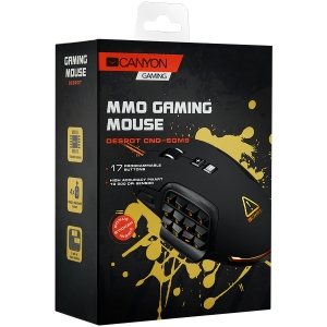 CANYON Wired MMO gaming mice programmable, Pixart 3325 IC sensor, DPI up to 10000 adjustable and Marco setting by software, Black rubber coating1