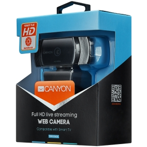 Webcam Canyon 1080P full HD 2.0Mega auto focus webcam with USB2.0 connector, 360 degree rotary view scope, built in MIC, IC Sunplus2281, Sensor OV27351