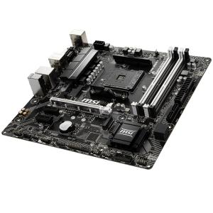 MSI Main Board Desktop B450 (SAM4, 4xDDR4, 1xPCI-Ex16, 2xPCI-Ex1, USB3.1, USB2.0, 4xSATA III, 1xM.2, 7.1Audio, DVI-D, HDMI, GLAN) mATX Retail1