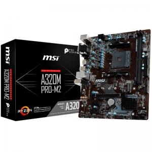 MSI Main Board Desktop A320 (SAM4, 2xDDR4, PCI-Ex16, 2xPCI-Ex1, USB3.1, USB2.0, SATA III, VGA, DVI-D, GLAN) mATX Retail0