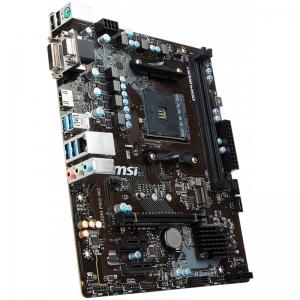MSI Main Board Desktop A320 (SAM4, 2xDDR4, PCI-Ex16, 2xPCI-Ex1, USB3.1, USB2.0, SATA III, VGA, DVI-D, GLAN) mATX Retail3