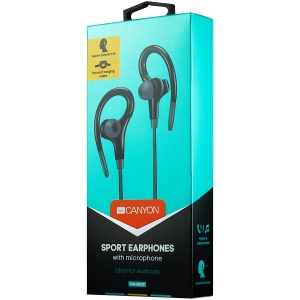 Canyon stereo sport earphones with microphone, 1.2m flat cable, black1