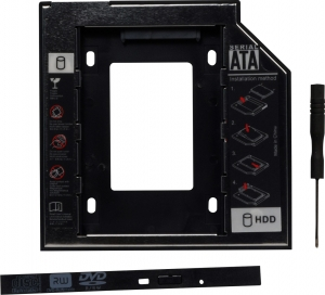 "Adaptor SSD pentru CD/DVD Bay, pentru Notebook, NORMAL, 12mm, ""SPR-25DVDN""0"