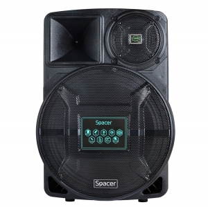 "BOXE SPACER portabile bluetooth, tip troler, RMS: 120W, 15"" woofer, acumulator 4.5A, input : AUX audio, guitar, USB/microSD, remote control, wireless microphone, black, ""SPB-A25-BT""/43501374 (include 1"