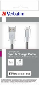 "CABLU alimentare si date VERBATIM, pt. smartphone, USB 2.0 (T) la Lightning (T),  1m, premium, MFi certified, cablu metalic, argintiu, ""48859""1"