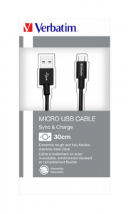 """CABLU alimentare si date VERBATIM, pt. smartphone, USB 2.0 (T) la Micro-USB 2.0 (T),  30cm, premium, MFi certified, cablu metalic, negru, """"48866""""3"""