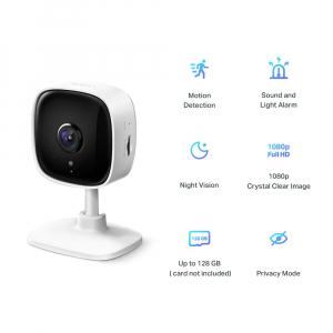 "Camera IP. wireless 1080p HD, zi/noapte, 2-way audio,alarma vizuala si sonora, senzor miscare, TP-LINK ""Tapo C100"" (include timbru verde 1 leu)2"