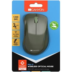 Canyon  2.4 GHz  Wireless mouse ,with 3 buttons, DPI 1200, Battery:AAA*2pcs  ,special military67*109*38mm 0.063kg3