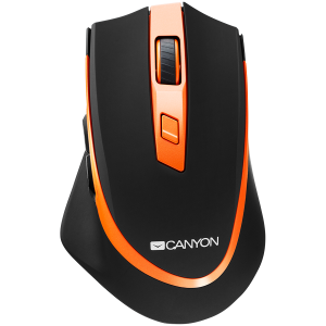 Canyon  2.4 GHz  Wireless mouse ,with 6 buttons, DPI 800/1200/1600/2000/2400, Battery:AAA*2pcs  ,Black-Orange 77.4*120.6*40.5mm 79g,1