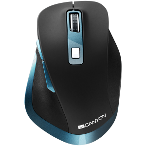 Canyon 2.4Ghz Wireless mouse, with 6 buttons,DPI 800/1200/1600/2000/2400,Battery:AAA*2 pcs , Black-blue 119.6*81.1*43.3mm86.8g1
