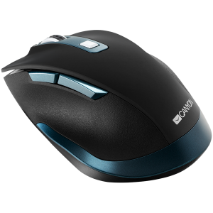 Canyon 2.4Ghz Wireless mouse, with 6 buttons,DPI 800/1200/1600/2000/2400,Battery:AAA*2 pcs , Black-blue 119.6*81.1*43.3mm86.8g3