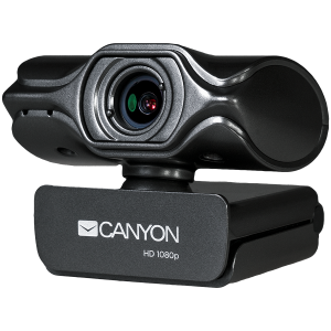 CANYON 2k Ultra full HD 3.2Mega webcam with USB2.0 connector, built-in MIC, Manual focus, IC SN5262, Sensor Aptina 0330, viewing angle 80°, with tripod, cable length 2.0m, Grey, 61.1*47.7*63.2mm, 0.181