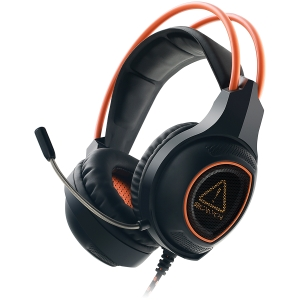 Canyon Gaming headset with 7.1 USB connector, adjustable volume control, orange LED backlight, cable length 2m, Black, 182*90*231mm, 0.336kg1