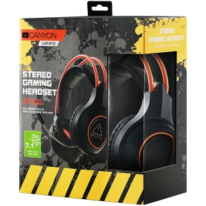 Canyon Gaming headset with 7.1 USB connector, adjustable volume control, orange LED backlight, cable length 2m, Black, 182*90*231mm, 0.336kg3