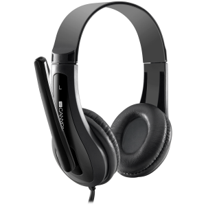 CANYON HSC-1 basic PC headset with microphone, combined 3.5mm plug, leather pads, Flat cable length 2.0m, 160*60*160mm, 0.13kg, Black2