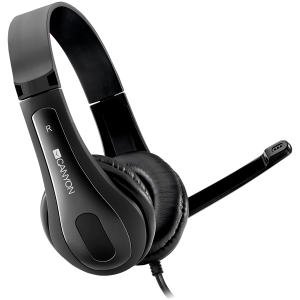 CANYON HSC-1 basic PC headset with microphone, combined 3.5mm plug, leather pads, Flat cable length 2.0m, 160*60*160mm, 0.13kg, Black0