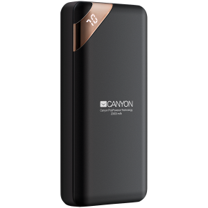 CANYON Power bank 20000mAh  Li-poly battery, Input 5V/2A, Output 5V/2.1A(Max), with Smart IC and power display, Black, USB cable length 0.25m, 137*67*25mm, 0.360Kg0