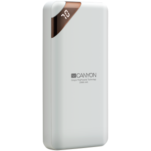 CANYON Power bank 20000mAh  Li-poly battery, Input 5V/2A, Output 5V/2.1A(Max), with Smart IC and power display, White, USB cable length 0.25m, 137*67*25mm, 0.360Kg0