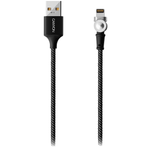 CANYON Rotating magnetic lightning charging cable (no data transfer), USB2.0, Power output 5V/2A, OD 3.2mm, with Short-circuit protection, cable length 1m, Black, 16*6*1000mm, 0.024kg [1]