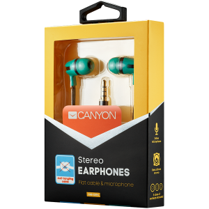CANYON Stereo earphone with microphone, 1.2m flat cable, Green, 22*12*12mm, 0.013kg1