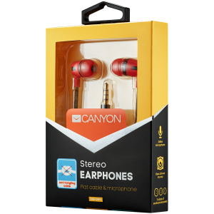 CANYON Stereo earphone with microphone, 1.2m flat cable, Red, 22*12*12mm, 0.013kg1
