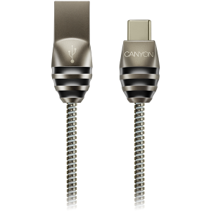 CANYON Type C USB 2.0 standard cable, Power & Data output, 5V 2A, OD 3.5mm, metallic Jacket, 1m, gun color, 0.04kg0