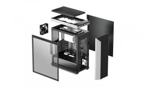 """CARCASA DeepCool Middle-Tower ATX, 1* 120mm fan (inclus), tempered glass, panouri laterale magnetice, VGA card holder, fan HUB, front audio & 2x USB 3.0 & 1x USB 3.1 Type-C, black """"CL500""""8"""