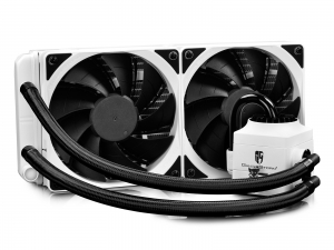 "COOLER DeepCool CPU universal. cu LICHID. soc LGA20xx/1366/115x & AMx/FMx, AL+Cu+lichid, 2x  TF 120 fans & RGB LED strip, 150W, ""CAPTAIN 240 EX RGB WHITE""0"