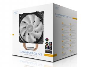 """COOLER DeepCool CPU universal, soc LGA20xx/1366/1200/115x & AM4/AMx/FMx, Al+Cu, 4x heatpipe, 150W, RGB LED """"GAMMAXX GT V2""""5"""